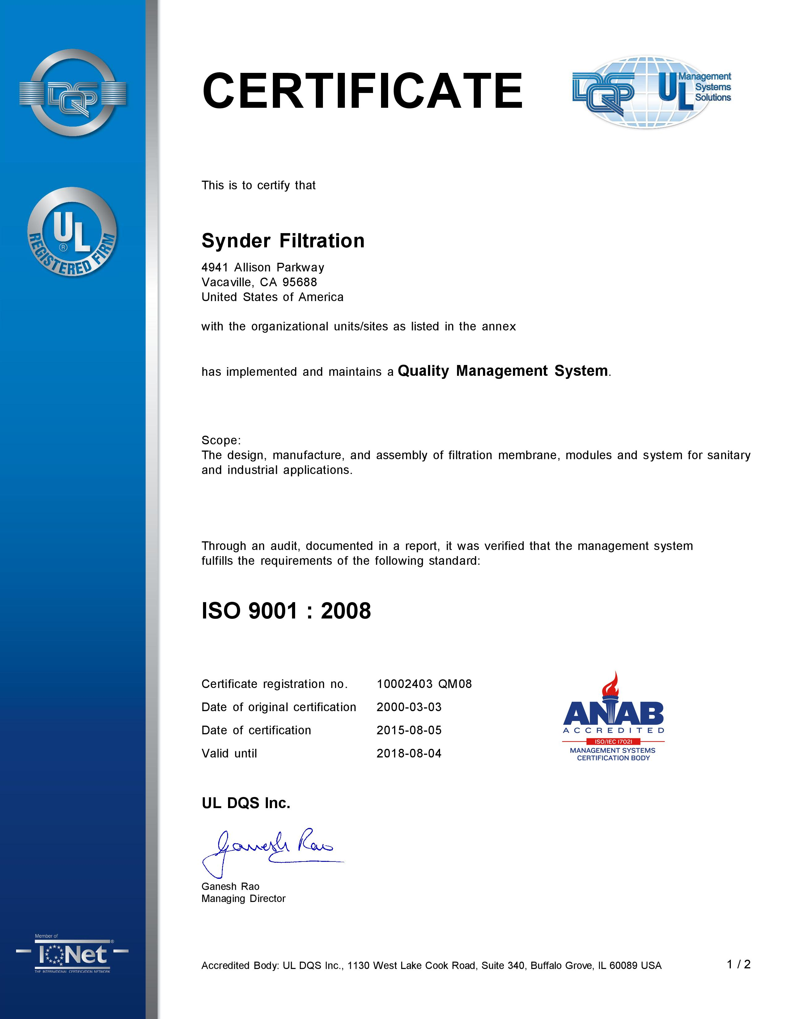 Iso 90012008 Certification Renewal Synder Filtration